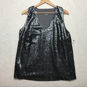 Lane Bryant Sequin Tank Top Silver Gray 18/20 NEW